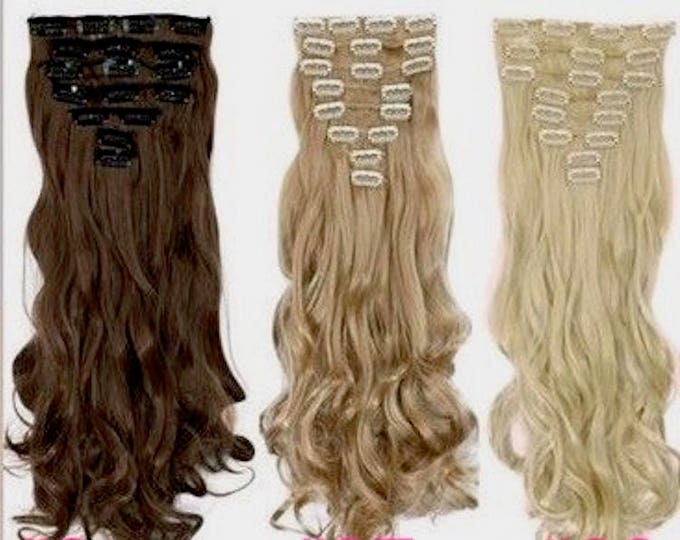 "24"" Clip In Hair Extensions/ Pure Human Remy Hair/Custom Color/212 Grams/12 piece Set/Silky Straight"