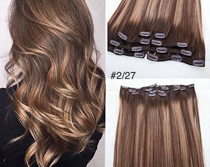 "Ombre Human Hair Clip In Hair Extensions, Pure Human Remy Hair, Custom Color, 212 Grams, Silky Straight Clip Ins, 20"", Straight"