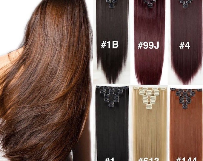 "22""Clip In Hair Extensions/ Pure Human Remy Hair/Custom Color/212 Grams/12 piece Set/Silky Straight"