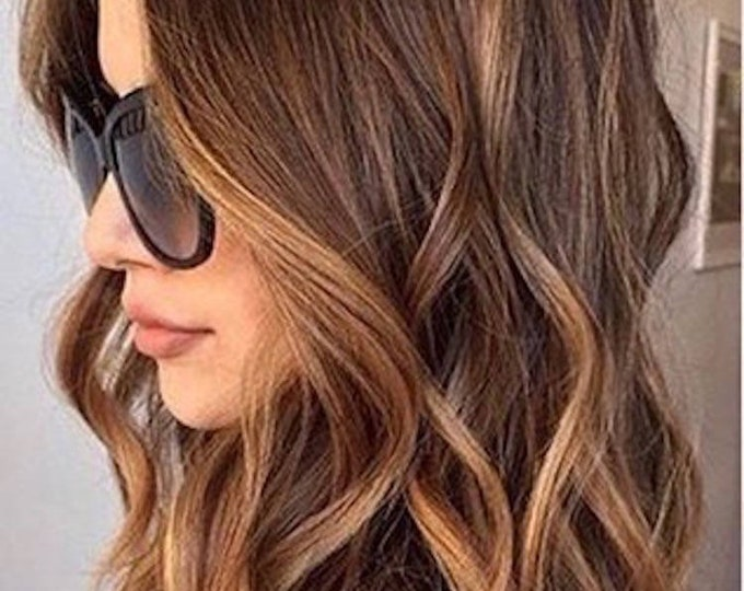 """Ombre Human Hair Clip In Hair Extensions, Pure Human Remy Hair, Custom Color, 212 Grams, Silky Straight Clip Ins, 20"""", Straight"""