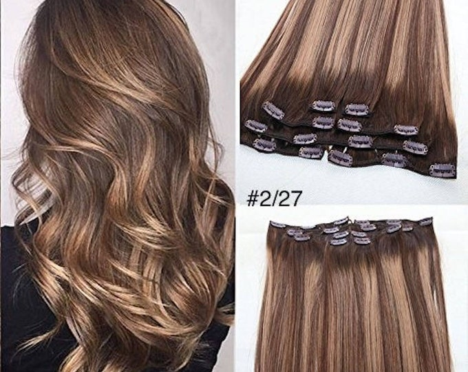 Ombre Human Hair Clip In Hair Extensions, Pure Human Remy Hair, Custom Color, 212 Grams, Silky Straight Clip Ins, 22""