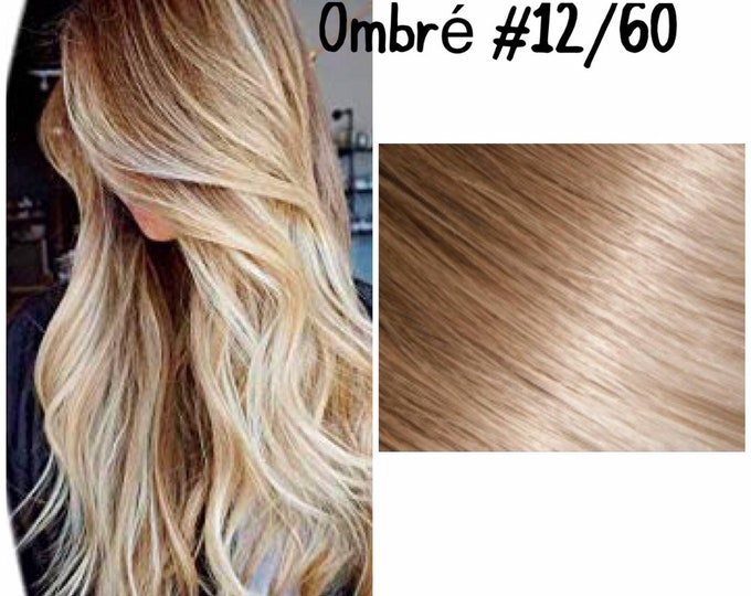 "24"" I Tip Wavy Ombre Human Hair Extensions, 100% Human Remy Hair, 100 grams, Custom Color"