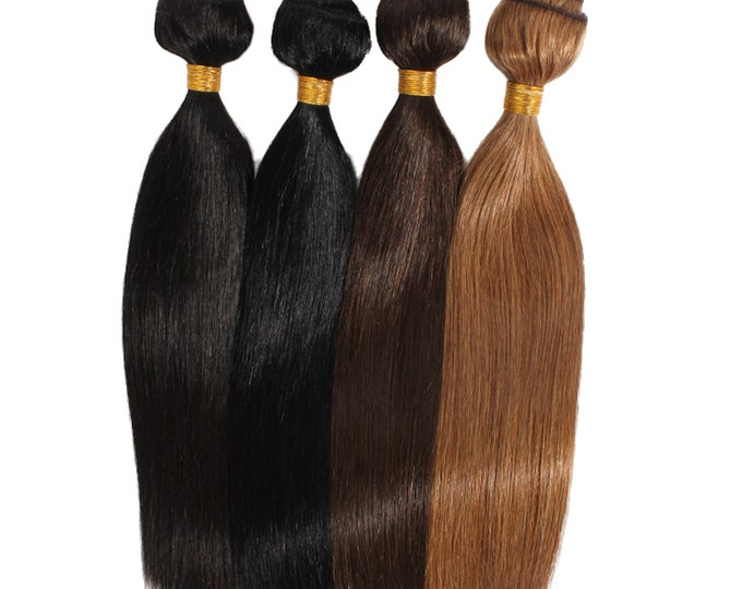 """28"""" Flat Weft Weave Hair Extensions, Double Drawn Remy Hair, Blonde Brown Black And Ombre, Straight, 100 Grams."""