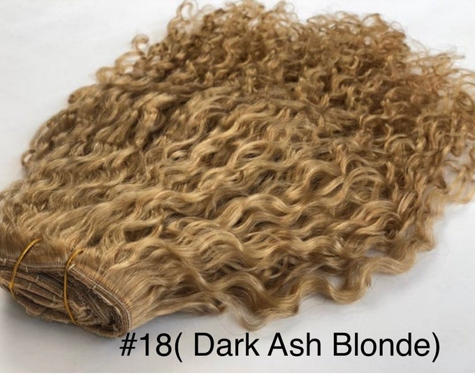 "Deep Curly Double Drawn Human Hair Clip In Hair Extensions, Remy Hair, Custom Color, 250 Grams, Silky, 18"" in color #18"