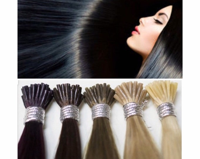 "24"" I Tip Human Hair Extensions, 100% Human Remy Hair, 100 grams, Blonde Brown Jet Black, Custom Color, Straight"
