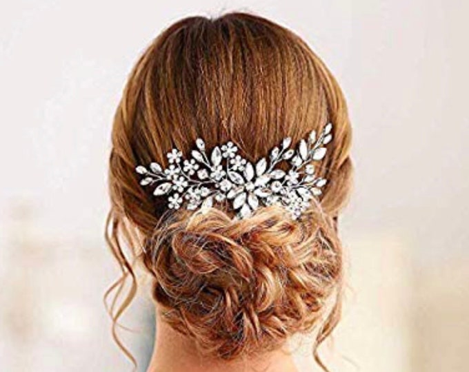 Bridal Crystal Pearl Hair Comb, Wedding Headpiece, Bridal Hair Accessories, Bridal Hair Piece, Silver