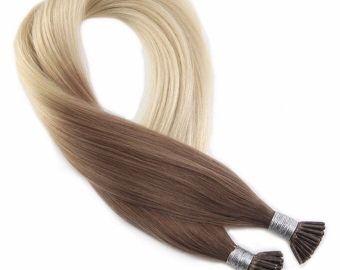 """I Tip Ombre Human Hair Extensions, 100% Human Remy Hair, 100 grams, 18"""", Custom Color, Silky Straight"""