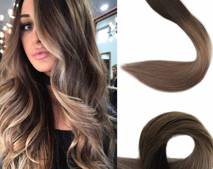 "18"" Ombre Human Hair Tape In Extensions, 100% Remy, Custom Color, Jet Black To Silver, Black To Brown, Brown To Blonde, Blonde,  Straight"
