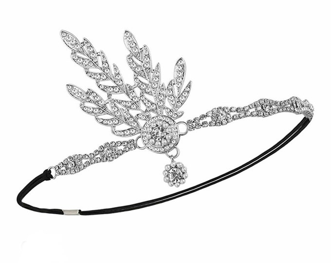 1920s wedding headpiece, Headband, Gatsby Headpiece, Austrian Crystal Pearl, Black Gold Green Silver, Art Deco, Flapper Style Hairpiece.