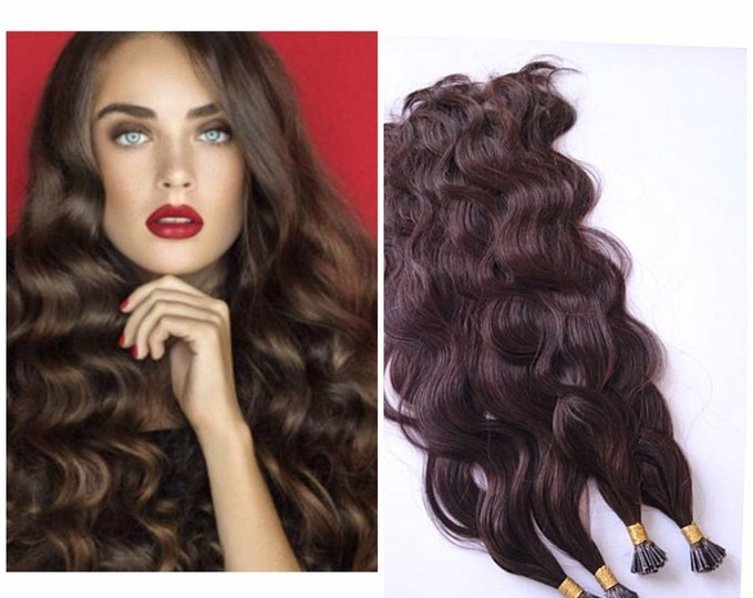 "18"" I Tip Wavy Human Hair Extensions, 100% Human Remy Hair, 100 grams, Blonde Brown Jet Black, Custom Color"