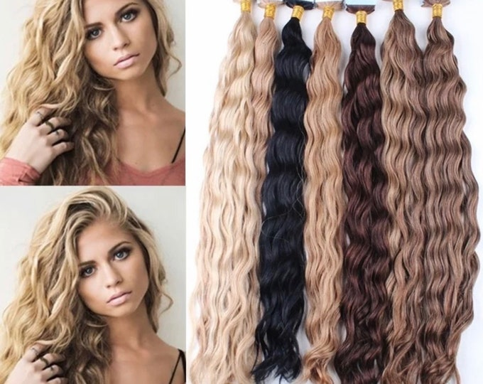 "Deep Curly Human Hair Tape In Extensions,100% Remy, Jet Back Brown Blonde, Custom Color, 18"" 22"" 26"" 30"""