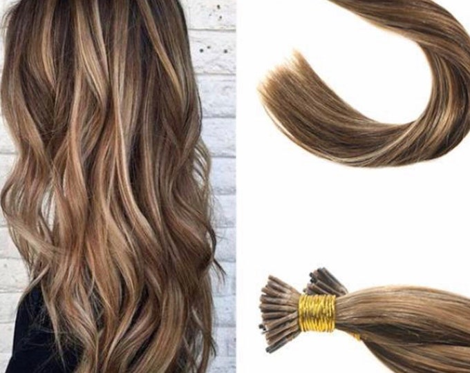 "20"" I Tip Human Hair Extensions, 100% Human Remy Hair, 100 grams,  Blonde Brown Jet Black, Custom Color, Straight"