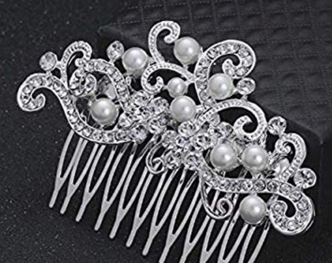 Wedding Vintage Inspired Hair Comb, Silver, Gold, Bridal Hair Piece, Crystal Hair Comb, Fresh Water Pearl, Bridal Hair Accessories