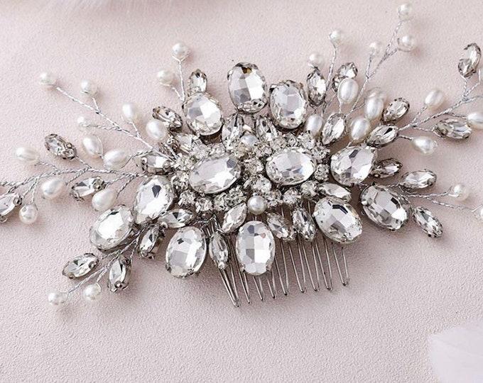 Wedding Crystal Rhinestone Hair Comb, Boho, Bridal Hair Pin, Wedding Hair Accessories Pearl, Silver Vine Hair Comb.