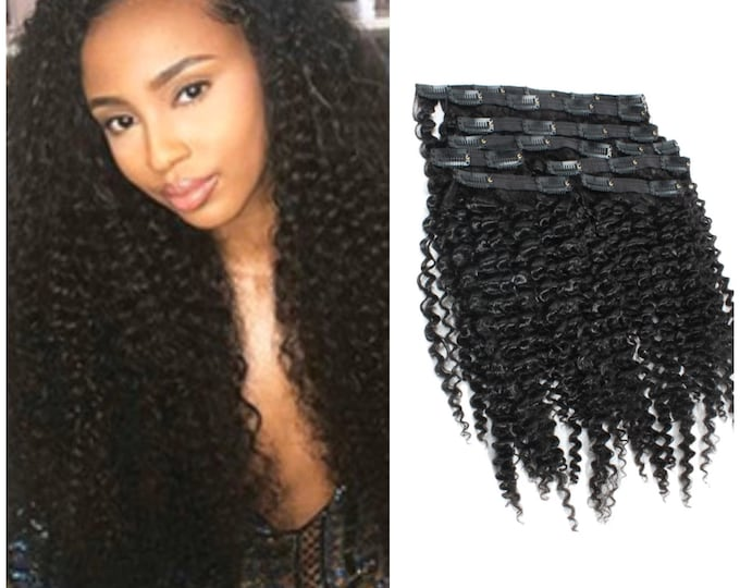 "Kinky Curly Double Drawn Human Hair Clip In Hair Extensions, Remy Hair, Custom Color, 250 Grams, Silky, 18"", 20"", 22"",  24"", 26"", 28"" 30""."