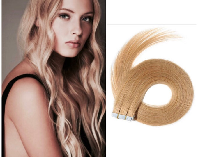 "Tape In Human Hair Extensions, 100% Remy, Custom Color, Blonde Jet Black Brown Honey Blonde, Straight, 18""-30"" length"