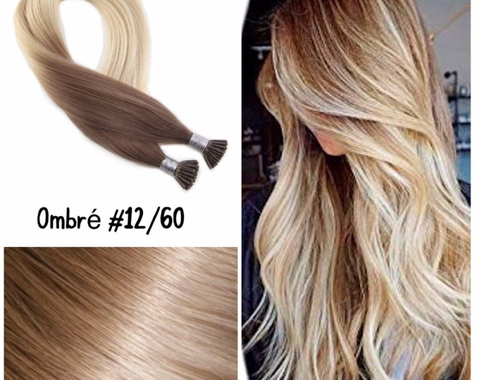 "18"" I Tip Wavy Ombre Human Hair Extensions, 100% Human Remy Hair, 100 grams, Custom Color"