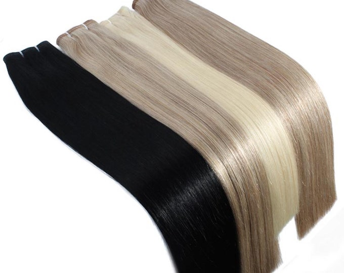 """20"""" Flat Weft Weave Hair Extensions, Double Drawn Remy Hair, Blonde Brown Black And Ombre, Straight, 100 Grams."""