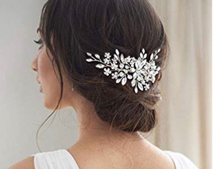 Bridal Crystal Pearl Hair Comb, Wedding Headpiece, Bridal Hair Accessories, Bridal Hair Piece, Silver