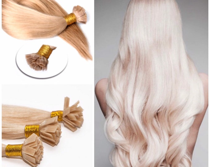 "22"" Fusion Human Hair Extensions, 100% Human Remy Hair, 100 grams, Blonde Brown Jet Black, Custom Color, Straight"