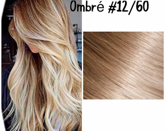 "28"" I Tip Wavy Ombre Human Hair Extensions, 100% Human Remy Hair, 100 grams, Custom Color"
