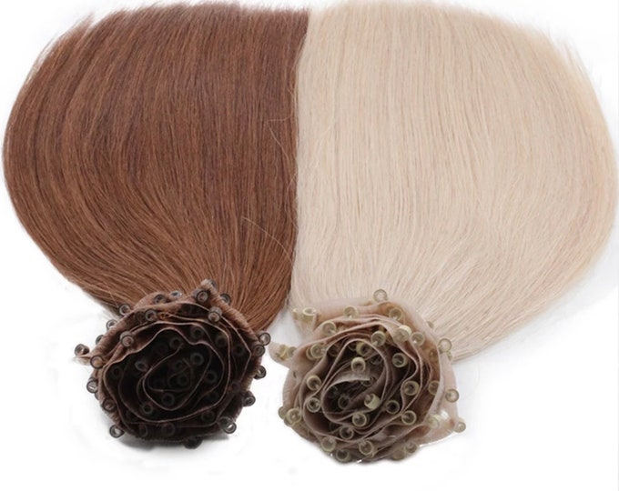 Micro beaded weft Extensions, Double Drawn Remy Hair, Blonde Brown Black And Ombre, Straight, 100 Grams, NBR