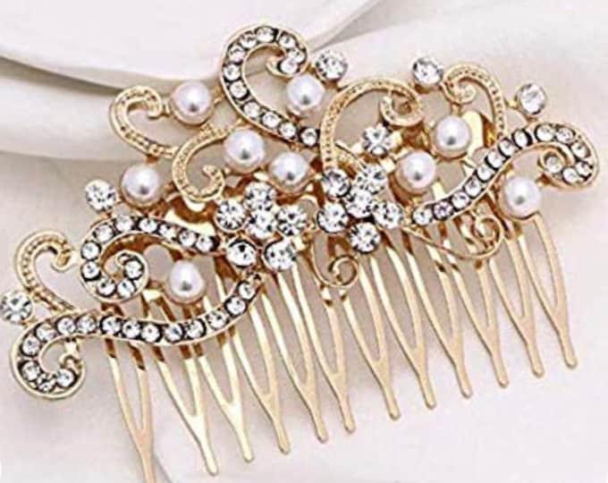 Wedding Vintage Inspired Hair Comb, Silver, Gold, Bridal Hair Piece, Crystal Hair Comb, Fresh Water Pearl, Bridal Hair Accessories