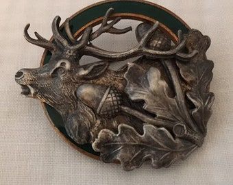 9344bfa3564fb 3D Hunting Deer Vintage Brooch Acorn Leaves Green Enamel Great Detail Aged  Patina Unique Pin