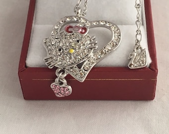 f97546c99 Swarovski Open Heart Kitty Cat Pink Heart Dangle and Bow Paved Crystals  Pendant Necklace Signed Swan Logo Retired Authentic