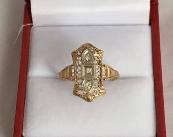 14K Gold Art Deco Diamond White and Yellow Gold Filagree Estate Ring