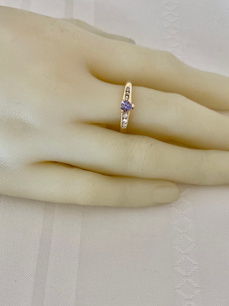 10K Gold Heart Tanzanite 6 Channel Set Diamonds I Love You Script on Shoulders Yellow Gold Ring
