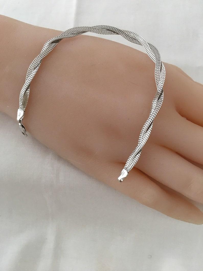72b567c68368ca 14K Solid White Gold Diamond Cut Braided Flat Design Bracelet | Etsy