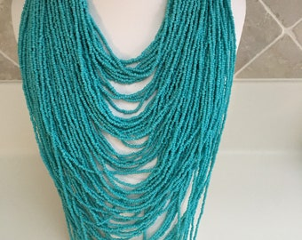 BCBG Max Azria Multi Strands Turquoise Beaded Haute Couture Necklace