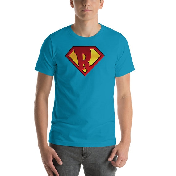 Superhero Shield Letter R name Funny Gift 3D Tee Shirt