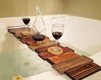 Custom Planked Wood Bath Caddy - Handmade Wooden Bath Tray