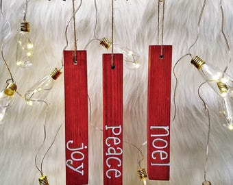 Set of [3] Wooden Christmas Ornaments with Seasonal Phrases