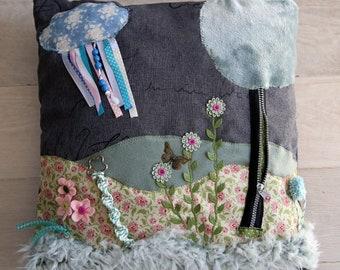 Dementia cushion/Fidget pillow ' garden '.