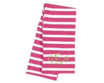 Free Embroidery Monogrammed Hot Pink Stripe Scarf Monogrammed Personalized Scarf, Embroidered Scarf, Monogrammed Scarf, Personalized Gift