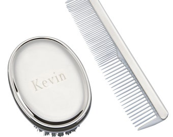 Personalized Baby Boy Christening gift Engraved baby Comb and Hair brush set Personalized New Baby Boy gift set Baby Shower Gift 023007