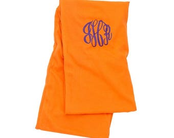 Free Embroidery Monogrammed Orange Scarf Personalized Scarf, Embroidered Scarf, Monogrammed Scarf, Personalized Gift