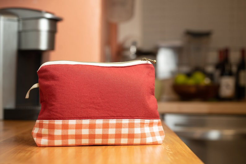Red /& Orange Gingham Waterproof Lined Zipper Pouch