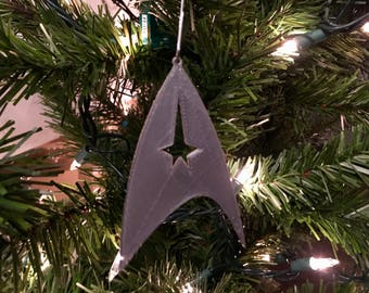 Star Trek Symbol Shape Tree Ornament - Plastic (Gray) (3D-Printed)