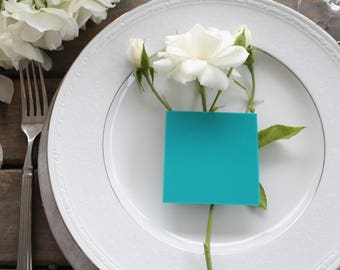 Set of 25 Square Turquoise Acrylic Place Card Blanks Wedding Special Events Dinner Party Event Planning