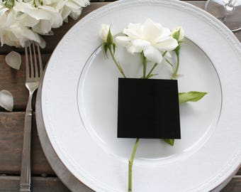 Set of 25 Square Black Acrylic Place Card Blanks Wedding Special Events Dinner Party Event Planning