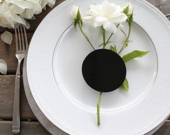 Set of 25 Circle Black Acrylic Place Card Blanks Wedding Special Events Dinner Party Event Planning