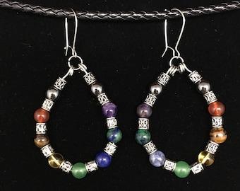 Genuine Gemstone Chakra Earrings Hematite, Red Agate, Tiger Eye, Citrine, Azurite, Amethyst, Sodalite, Green Aventurine