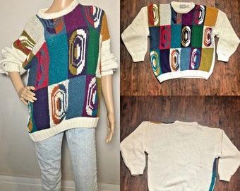 d55195835f686 Vintage 80s 90s Concrete Mix Coogi Cosby Style Color Block Sweater Size  Large