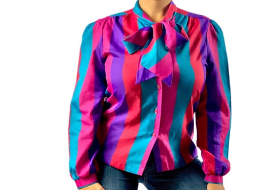 Vintage Pussy-Bow Colorful Striped Blouse size Med