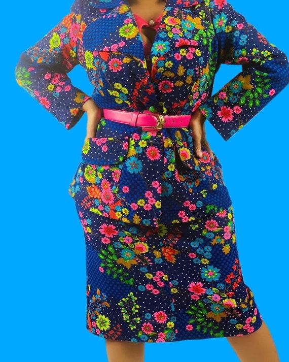 Vintage 1970's floral print two piece skirt set