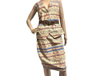 NWT Ladies Vintage Vivaldi Jeanswear Southwest Denim Jean Vest & matching skirt